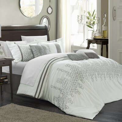 Michael 3 Piece Duvet Cover Set Size: Queen, Color: White