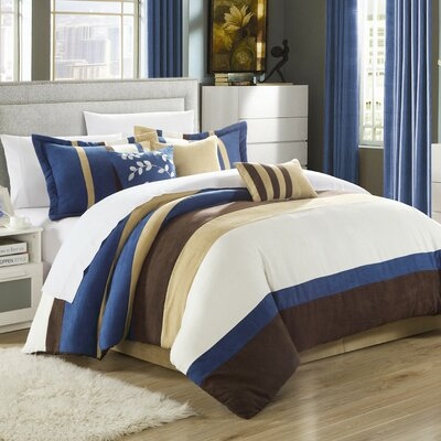 Cathy 11 Piece Comforter Set Color: Blue, Size: Queen