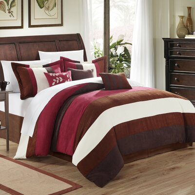 Cathy 11 Piece Comforter Set Size: Queen, Color: Burgundy