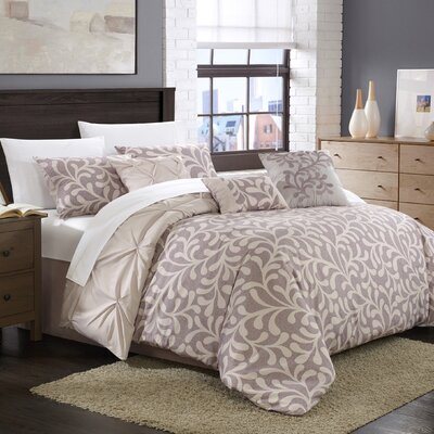 Trenton 11 Piece Reversible Comforter Set Color: Violet/Lilac, Size: Queen