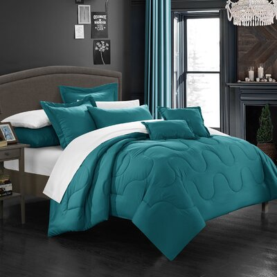 Donna Twin Comforter Set Color: Teal