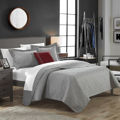 Eudora Quilt Set Size: King, Color: Gray