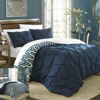 Talia Pleated Pintuck 7 Piece Reversible Duvet Cover Set Size: King, Color: Navy