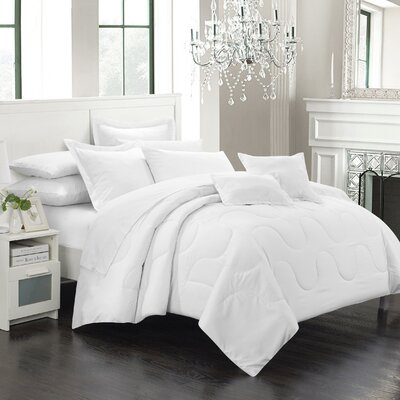 Donna 7 Piece Comforter Set Size: Full / Queen, Color: White