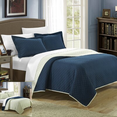 Teresa Reversible Quilt Set Size: King, Color: Navy