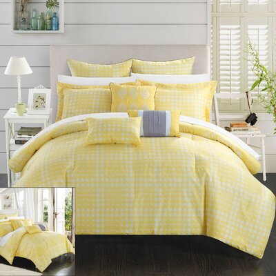 Sicily 12 Piece Reversible Comforter Set Size: Queen, Color: Yellow