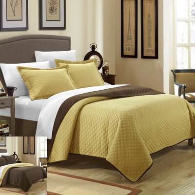 Teresa Reversible Quilt Set Size: Queen, Color: Gold