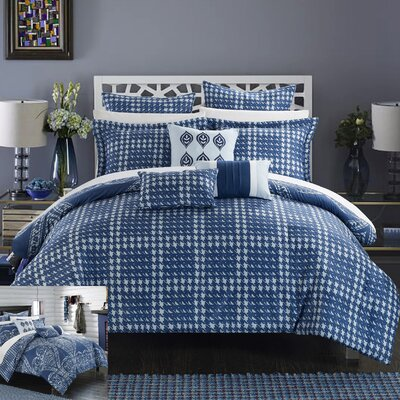 Sicily 12 Piece Reversible Comforter Set Size: King, Color: Navy