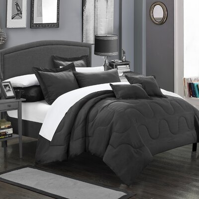 Donna 11 Piece Comforter Set Size: Full/Queen, Color: Black