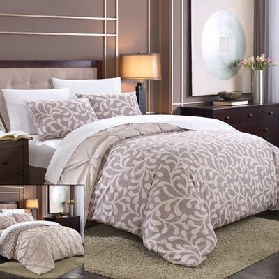 Talia Pleated Pintuck 7 Piece Reversible Duvet Cover Set Size: King, Color: Plum