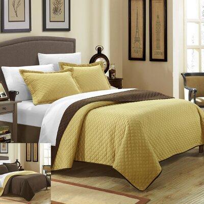 Teresa 3 Piece Twin Quilt Set Color: Gold
