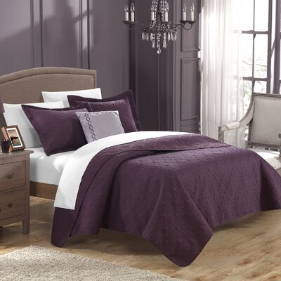 Eudora 4 Piece Quilt Set Size: King, Color: Plum
