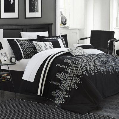 Michael 7 Piece Duvet Cover Set Color: Black, Size: Queen