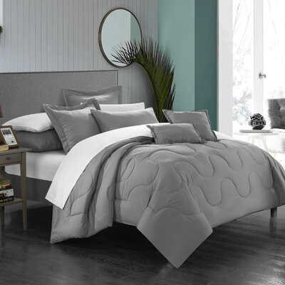 Donna 11 Piece Comforter Set Color: Silver, Size: King