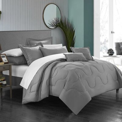 Donna 7 Piece Comforter Set Size: King, Color: Silver