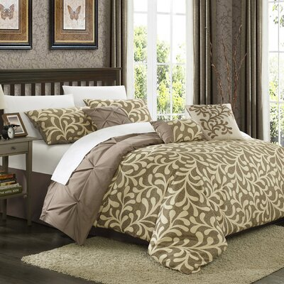 Trenton 11 Piece Reversible Comforter Set Size: Queen, Color: Taupe