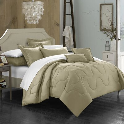 Donna 7 Piece Comforter Set Size: King, Color: Taupe