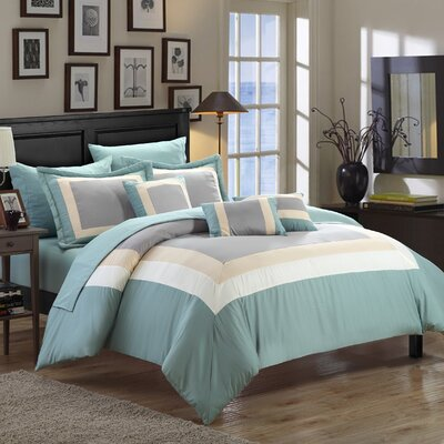 Lowell 10 Piece Bed-In-A-Bag Set Size: Queen, Color: Green
