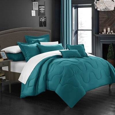 Donna 7 Piece Comforter Set Size: King, Color: Teal