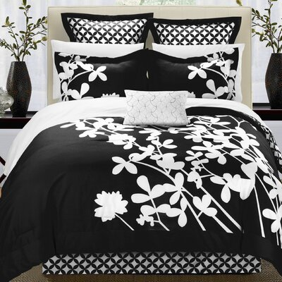 Iris 11 Piece Comforter Set Color: Black, Size: Queen