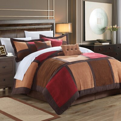 Diana 7 Piece Comforter Set Size: Queen, Color: Burgundy