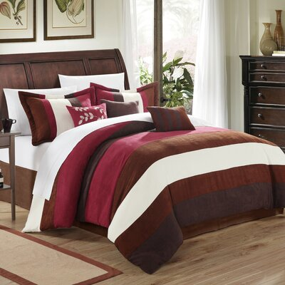Cathy 7 Piece Comforter Set Size: King, Color: Burgundy