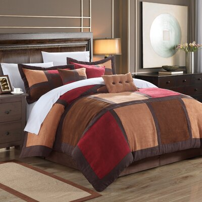 Diana 11 Piece Comforter Set Size: Queen, Color: Burgundy