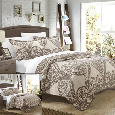 Napoli 3 Piece Reversible Quilt Set Color: Beige, Size: King