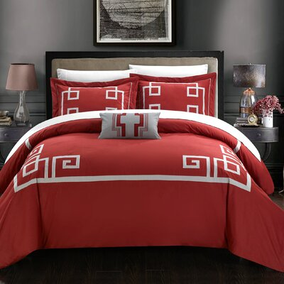 Royalton 7 Piece Duvet Cover Set Size: Queen, Color: Burgundy