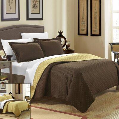 Teresa 3 Piece Reversible Quilt Set Size: Queen, Color: Gold