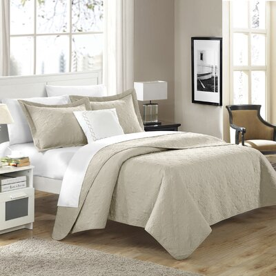 Eudora Quilt Set Color: Taupe, Size: King