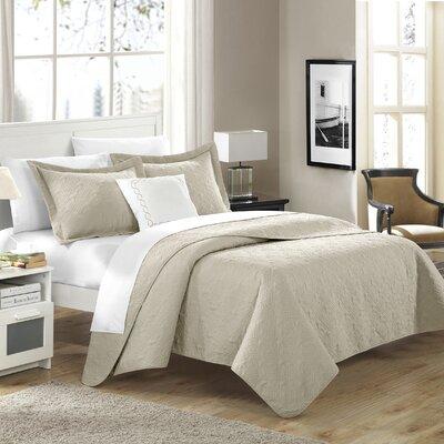 Eudora 4 Piece Quilt Set Size: King, Color: Light Brown