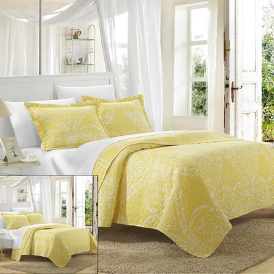 Napoli 3 Piece Reversible Quilt Set Size: Queen, Color: Yellow