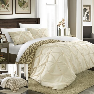 Talia Pleated Pintuck 7 Piece Reversible Duvet Cover Set Color: Beige, Size: Queen