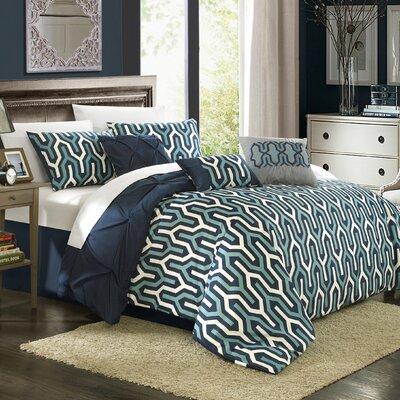 Trenton 11 Piece Reversible Comforter Set Size: King, Color: Navy