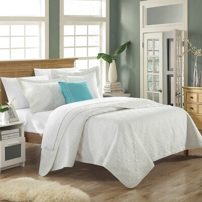 Eudora 4 Piece Quilt Set Size: Queen, Color: White