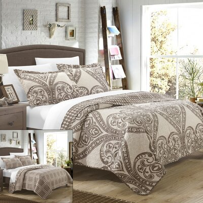 Napoli Reversible Quilt Set Size: Queen, Color: Beige