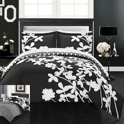 Calla Lily 4 Piece Duvet Cover set Size: King, Color: Black