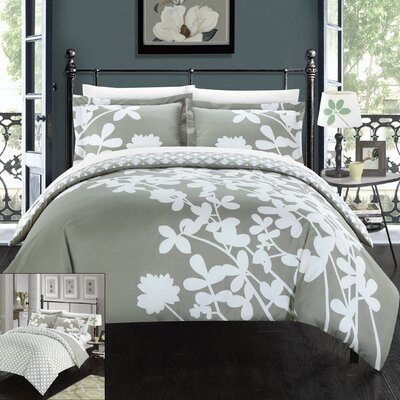 Calla Lily 4 Piece Duvet Cover set Size: King, Color: Grey