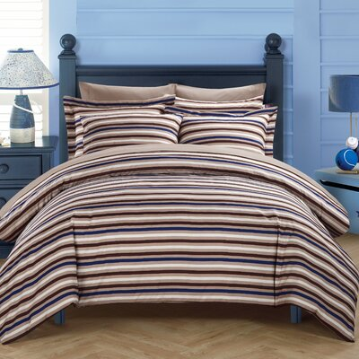 Alyssa Duvet Cover Set Size: King, Color: Brown