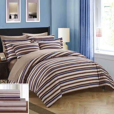 Alyssa Reversible Duvet Cover Set Size: King, Color: Brown