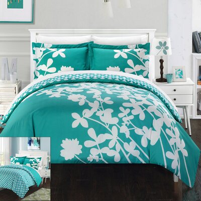 Calla Lily 4 Piece Duvet Cover set Size: Queen, Color: Turquoise