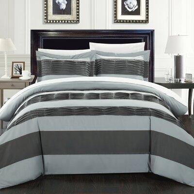 Park Lane 7 Piece Duvet Set Size: Queen, Color: Gray