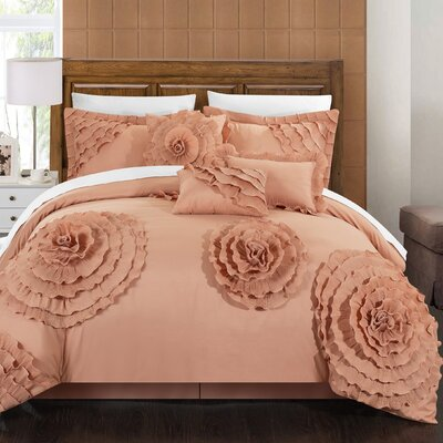Belinda 11 Piece Comforter Set Size: King, Color: Peach