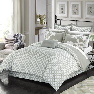 Iris 7 Piece Reversible Comforter Set Size: King, Color: Gray
