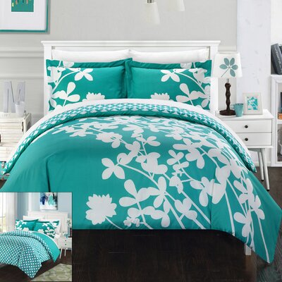 Calla Lily Reversible Duvet Cover Set Size: King, Color: Turquoise