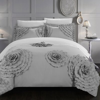 Birdy 3 Piece Duvet Cover Set Size: King, Color: Silver