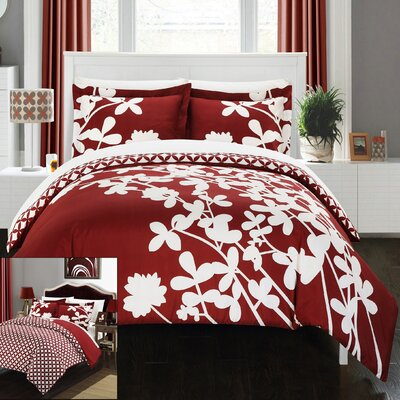 Calla Lily 4 Piece Duvet Cover set Size: King, Color: Red