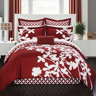 Iris 11 Piece Reversible Comforter Set Size: King, Color: Red