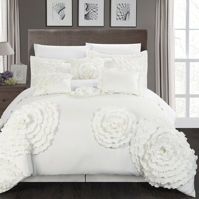 Belinda 7 Piece Comforter Set Size: King, Color: White